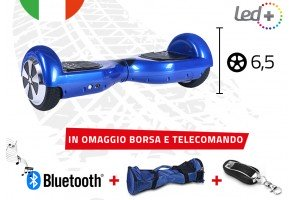 Hoverboard Blue 6,5 Pollici Luci Led Bluetooth Speaker Borsa E Telecomando
