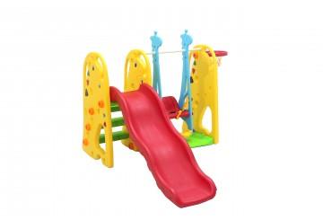 Scivolo Per Bambini Con Altalena Giardino Esterni Interno Multifunzione Con Canestro H123 X L170 X L160 Giraffa