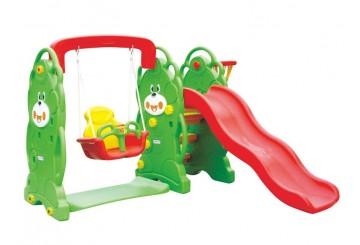 Scivolo Per Bambini Con Altalena Giardino Esterni Interno Multifunzione Con Canestro H87 X L169 X L112