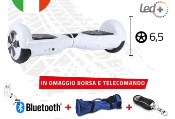 Hoverboard Bianco 6,5 Pollici Luci Led Bluetooth Speaker Borsa E Telecomando
