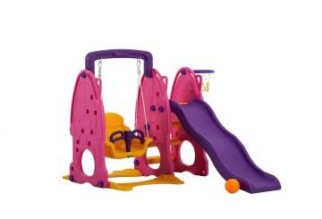 Scivolo Per Bambini Con Altalena Giardino Esterni Interno Multifunzione Con Canestro H122 X L186 X L155 Partypink