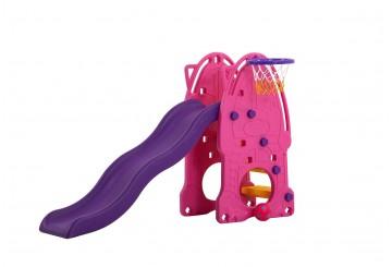 Scivolo Per Bambini Esterni Interno Giardino Con Basket Multifunzione H114 X L159 X L77 Babypink Alta Resistenza Eco-friendly