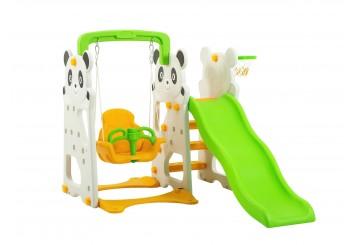 Scivolo Per Bambini Con Altalena Giadino Esterni Interno Multifunzione Con Canestro H120 X L153 X L160 Panda