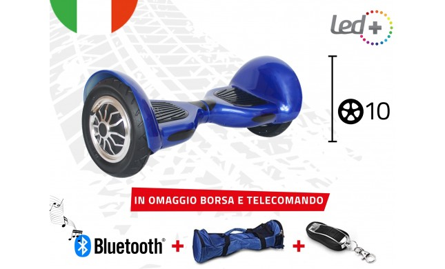 "HOVERBOARD BLUE 10"" POLLICI LUCI LED BLUETOOTH SPEAKER BORSA E TELECOMANDO"