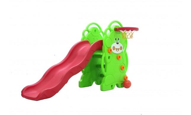 Scivolo Per bambini Esterni Interno Giardino Con Basket Multifunzione H110 X L170 X L85 Orsetti Alta Resistenza Eco-Friendly
