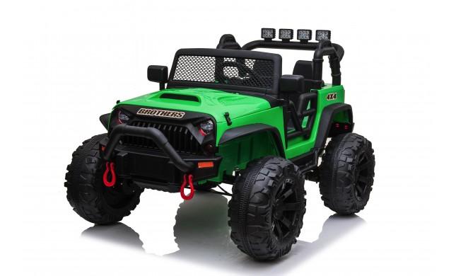 Auto Macchina Elettrica Fuoristrada Big Adventure 24V Verde per Bambini 2 Posti Full Optional sedile in pelle telecomando porte apribili
