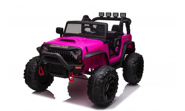 Auto Macchina Elettrica Fuoristrada Big Adventure 24V Rosa per Bambini 2 Posti Full Optional sedile in pelle telecomando porte apribili