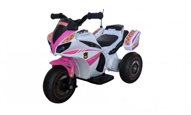 Moto Elettrica per bambini Polizia Rosa con Musiche Luci Mp3 Marcia avanti e indietro accelleratore 3 ruote