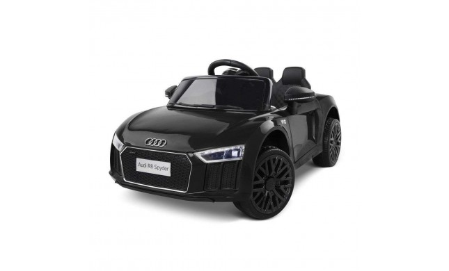 Auto Macchina Elettrica 12V R8 Spyder per Bambini Led MP3 con Telecomando Sedile in pelle Nera